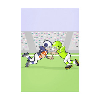 American soccer frontal fighting by the ball canvas print