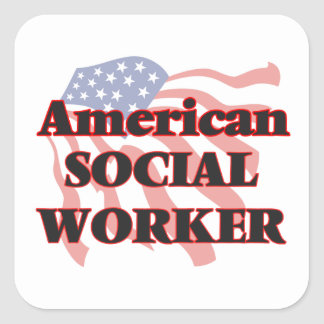 American Social Worker Square Sticker