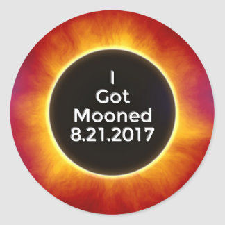 American Solar Eclipse Got Mooned August 21 2017.j Classic Round Sticker