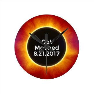 American Solar Eclipse Got Mooned August 21 2017.j Round Clock