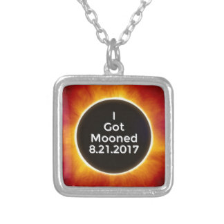 American Solar Eclipse Got Mooned August 21 2017.j Silver Plated Necklace