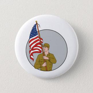 American Soldier Holding USA Flag Circle Drawing 2 Inch Round Button