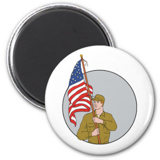 American Soldier Holding USA Flag Circle Drawing 2 Inch Round Magnet