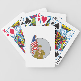 American Soldier Holding USA Flag Circle Drawing Bicycle Playing Cards