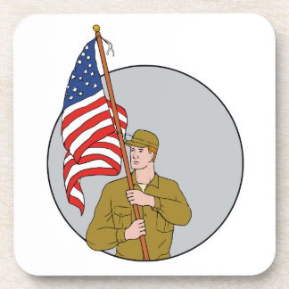 American Soldier Holding USA Flag Circle Drawing Coaster