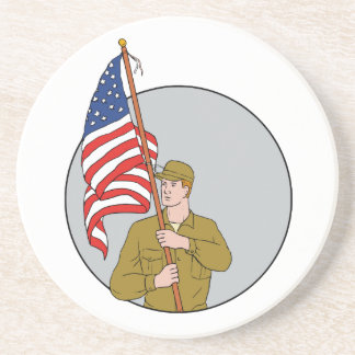 American Soldier Holding USA Flag Circle Drawing Coasters