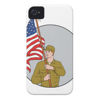 American Soldier Holding USA Flag Circle Drawing iPhone 4 Case-Mate Case