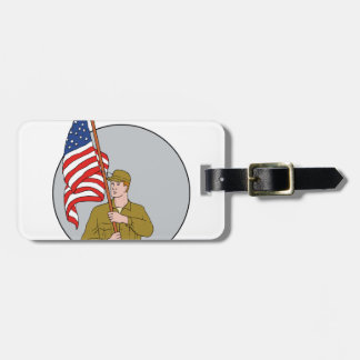 American Soldier Holding USA Flag Circle Drawing Luggage Tag