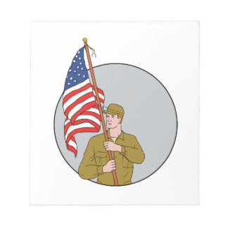 American Soldier Holding USA Flag Circle Drawing Notepad