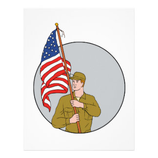 American Soldier Holding USA Flag Circle Drawing Personalized Letterhead