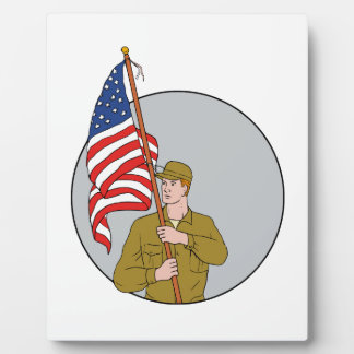 American Soldier Holding USA Flag Circle Drawing Plaque
