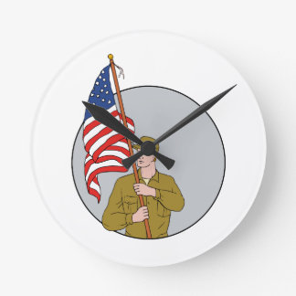 American Soldier Holding USA Flag Circle Drawing Round Clock
