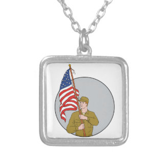 American Soldier Holding USA Flag Circle Drawing Silver Plated Necklace