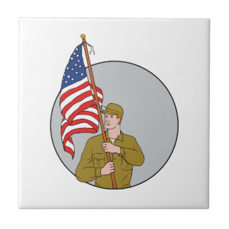 American Soldier Holding USA Flag Circle Drawing Tile