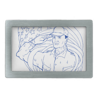 American Soldier Salute Flag Ukiyo-e Belt Buckle