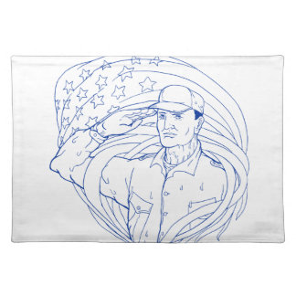 American Soldier Salute Flag Ukiyo-e Placemat