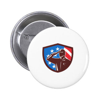 American Soldier Saluting USA Flag Crest Retro 2 Inch Round Button
