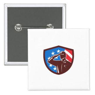 American Soldier Saluting USA Flag Crest Retro 2 Inch Square Button