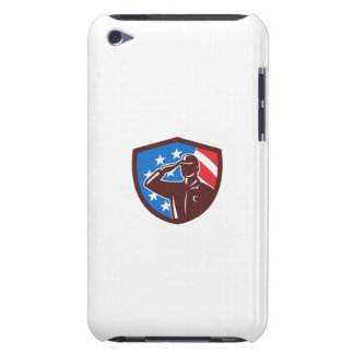 American Soldier Saluting USA Flag Crest Retro Barely There iPod Case