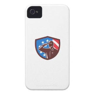 American Soldier Saluting USA Flag Crest Retro iPhone 4 Covers