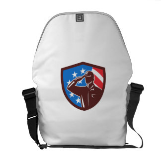 American Soldier Saluting USA Flag Crest Retro Messenger Bag