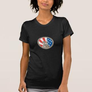 American Soldier Serviceman Bayonet Circle Retro Tshirt