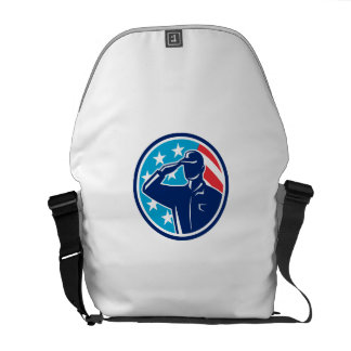 American Soldier Serviceman Saluting Flag Circle R Courier Bags