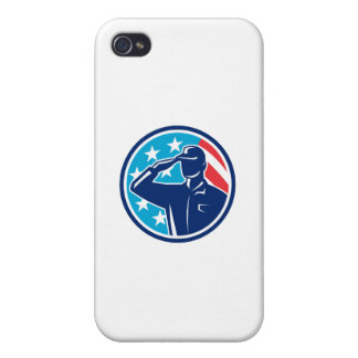 American Soldier Serviceman Saluting Flag Circle R Cover For iPhone 4