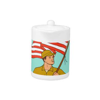 American Soldier Waving USA Flag Circle Drawing