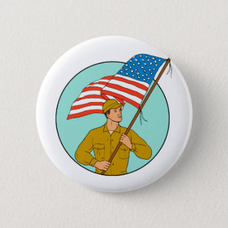 American Soldier Waving USA Flag Circle Drawing 2 Inch Round Button