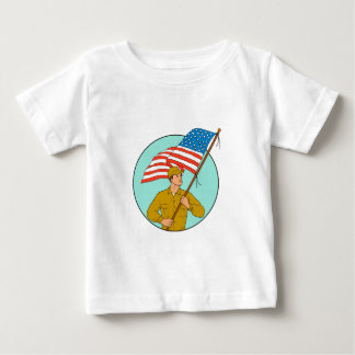 American Soldier Waving USA Flag Circle Drawing Baby T-Shirt