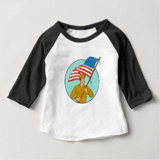 American Soldier Waving USA Flag Circle Drawing Baby T-Shirt