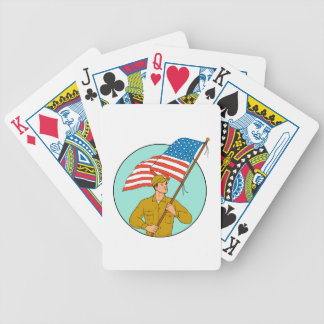 American Soldier Waving USA Flag Circle Drawing Bicycle Playing Cards