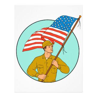 American Soldier Waving USA Flag Circle Drawing Letterhead