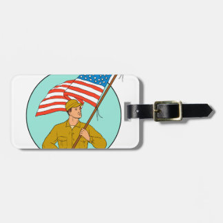 American Soldier Waving USA Flag Circle Drawing Luggage Tag