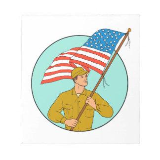 American Soldier Waving USA Flag Circle Drawing Notepads
