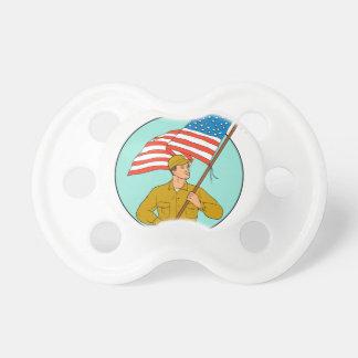 American Soldier Waving USA Flag Circle Drawing Pacifier