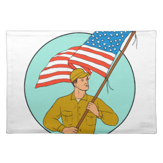 American Soldier Waving USA Flag Circle Drawing Placemat
