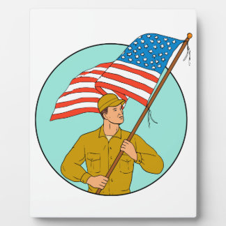 American Soldier Waving USA Flag Circle Drawing Plaque