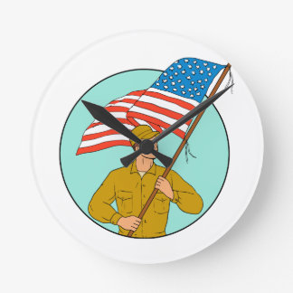 American Soldier Waving USA Flag Circle Drawing Round Clock