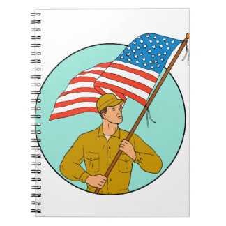 American Soldier Waving USA Flag Circle Drawing Spiral Notebooks