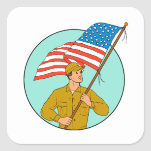 Sketched American Flag Stickers Zazzle Ca