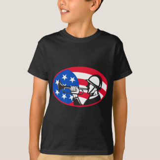 American soldier with bugle and stars and stripes T-Shirt