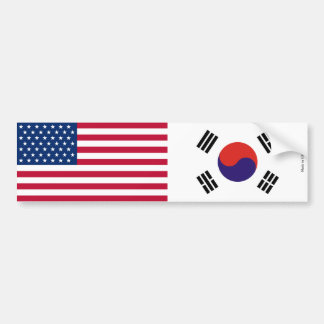 American & South Korean Flags Bumper Sticker