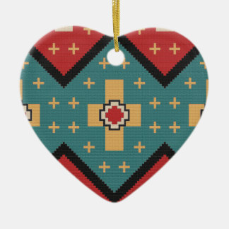 American Southwest Indian Pattern Ceramic Ornament