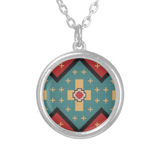 American Southwest Indian Pattern Silver Plated Necklace