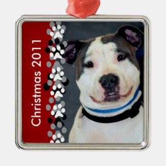 American Staffordshire Terrier-Am Staff Photo Silver-Colored Square Ornament