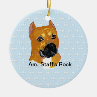 American Staffordshire Terrier ~ Blue w/White Diam Round Ceramic Ornament