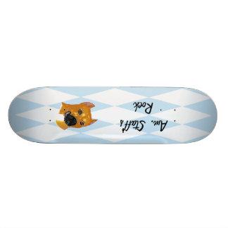 American Staffordshire Terrier ~ Blue w/White Diam Skateboard