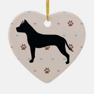 American Staffordshire Terrier Ceramic Heart Ornament